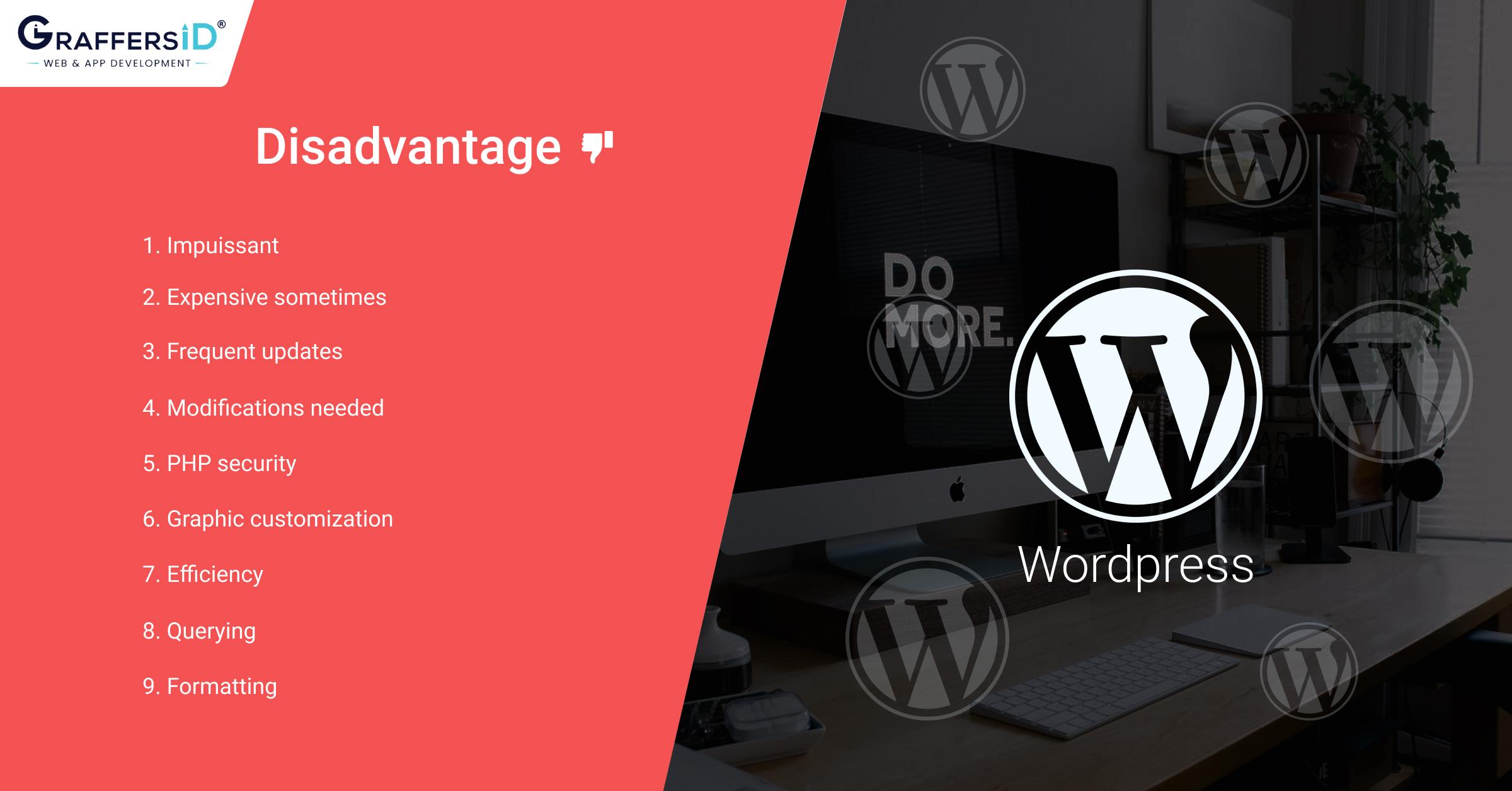 Disadvantages of WordPress website