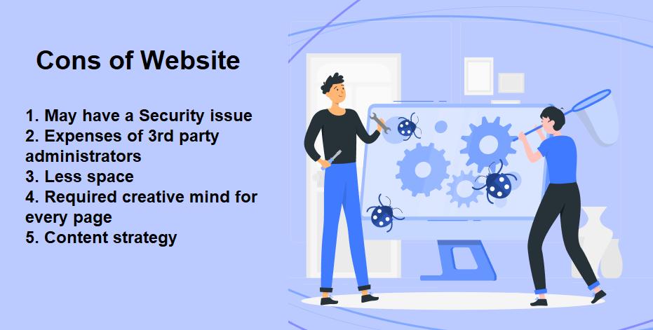 cons of having website